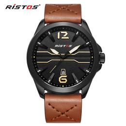Discount reloj water resistant - 2018 Ristos Fashion Men Sport Watch Unique Design Calendar Male Quartz Watches Casual Leather Wristwatch Reloj Masculino