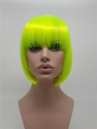 Anime wAve hAir online shopping - XT717 Fashion Fluorescent Green Synthetic Women s Short Anime Short Hair Celebrity Rave Full Wigs Cosplay Party Straight Synthetic Hair