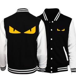 eyes cartoons 2019 - Men Yellow Jacket Little Monster Eyes Cartoon Mens Baseball Coats Spring Fashion Naruto Men Coat Hip Hop Slim Fit S.A.O