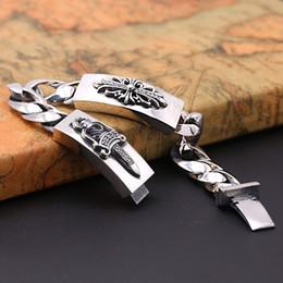 $enCountryForm.capitalKeyWord Australia - Brand new 925 sterling silver vintage jewelry antique silver hand-made designer cross & sward thick chain bracelet for men hot sales
