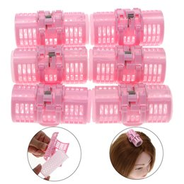 Diy Curls Hair Rollers Australia - 6Pcs set Plastic Pink Grip Cling Hairdressing Hair Curler Roller Spring Clips Double Layers Curls Home Use DIY Hair Styling Tool