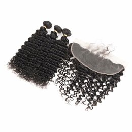 Discount human hair deep curly weave closure - Ear to Ear Lace Frontal Closure With 3 Bundles Indian Deep Wave Curly Virgin Hair Peruvian Indian Malaysian Human Hair W