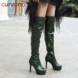 5f56ad071f0 Women s Boot Thigh Boots Black Platform Knee High Boots Winter High Heels  Snake Print Plush Insole Green Patent Pu Leather
