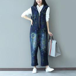 Denim Trouser Jumpsuits Canada - Multicolor Print Jeans Women Jumpsuit Hole Romper Overalls Casual Cuffs Trousers Vaqueros Denim Pants Wide Leg Rompers Female
