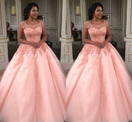 Yellow Coral Beads NZ - 2018 Coral Ball Gown Quinceanera Dresses Square Neck Appliques Beads Puffy Floor Length Princess Prom Party Dresses For Sweet 16 Girls