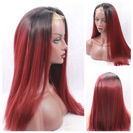 Discount ombre wine hair - Fahion Long Straight Hair Ombre Red wine Burgundy Cospaly Wig Heat Resistant Synthetic Lace Front Wig for Black Woman