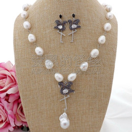 "porcelain earrings NZ - S100203 21"" White Keshi Pearl Cz Pave Flamingo Necklace Earrings Set"