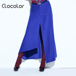 9a4aa6d0cfac Clocolor Women Skirt New Autumn Winter Solid Blue Mid-Waist Plain Ankle- Length 2018 Modern Fashion Female Girls Women Skirt