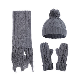 $enCountryForm.capitalKeyWord Australia - Women's Diamond Twist Knitted Woolen Hat Scarf Gloves Three-Piece Set Womens Winter warm Set dropship oct25