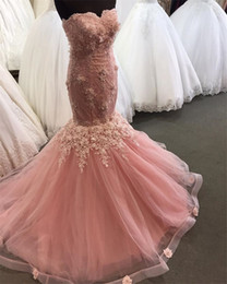 $enCountryForm.capitalKeyWord Canada - Sexy Blush Pink Cheap Mermaid Prom Dresses 2019 3D Floral Vintage Lace Plus Size African Arabic Girls Formal Evening Party Gowns