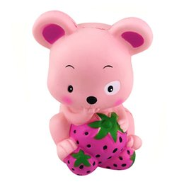 rose mice UK - Strawberry Mouse Squishy Slow Rising Cream Scented Decompression Toys For Children Adults Relieves Stress Anxiety Cabinet Decor