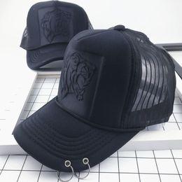 YONGLOU001 Yong Women s Solid Embossed Tiger Head Baseball Caps Soild Black  5 Panels Snapback Hats Mesh Trucker Hats Gorras Ring 2ba91275ff5f
