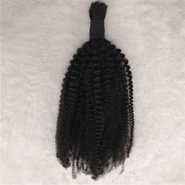 brazilian braiding 2019 - 1pc Human Hair Bulk For Black Women Indian Kinky Curly Bulk Hair For Braiding Natural Black No Weft cheap brazilian brai