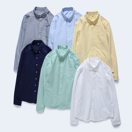 Mens Oxford Shirts Yellow Canada - Mens Long Sleeve Solid Oxford Dress Shirt with Left Chest Pocket Quality Male Smart Casual Slim-fit Tops Fashion Shirts TS-291
