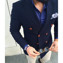 Dark Blue Suits Australia - 2017 Navy Blue Double Breasted terno masculino Blazer Casual Men Suit Custom 2 Piece Skinny mens suits Tuxedo Jacket Masculino S18101903