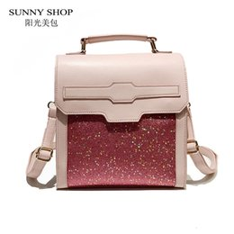 8ade573a22 SUNNY SHOP Fashion Stylish Bling Bling Women Backpack 2018 Small PU Leather  Rucksack Korean Backpacks For Teenage Girls Pink Bag