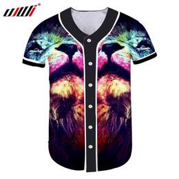 1e55c44baec676 wholesale Men s Casual Tshirt With Button Summer Fashion Cool Print Lion  King 3D Baseball Jersey Shirts Man V Neck Fitness Undershirt