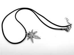 $enCountryForm.capitalKeyWord Australia - Japanese maple leaf Fallen leaves Leaf Autumn leaves Necklace African Plants Tree Foliage Leaves Leather Rope Necklaces jewelry