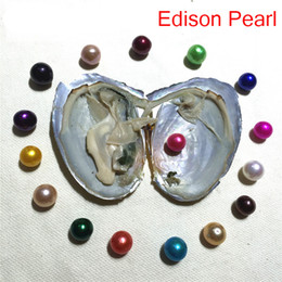 Wholesale fresh Water pearl online shopping - New DIY AAA mm Edison Pearl Oyster fresh water Akoya in shell vacuum packed birthday gift pearl show