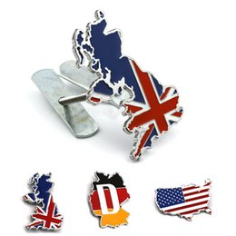vw grill emblems 2019 - Styling Germany USA England Great Britain Map Hood Grill Emblem Metal Nation Flag Logo Front Badge for VW Golf Passat fo