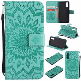 Discount flower leather flip phone case - Sunflower Leather Wallet Case For Huawei P20 Pro P20 Lite Mandala Floral Sun Flower Cards Slot Strap Stand Phone Flip Co