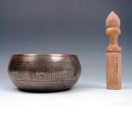 Discount metal gong - Vintage Tibetan Brass Gold Gilt Chakra Large Singing Bowl Meditation Gongs W STRIKA Antique Garden Decoration Silver Bra