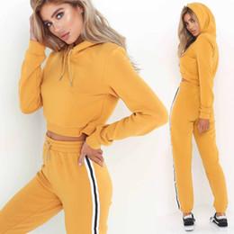 $enCountryForm.capitalKeyWord NZ - Fashion Women Ladies 2Pcs Sport Top Short Sweatshirt Track Pants Suits Tracksuit Solid Casual Female Women Suits Sets