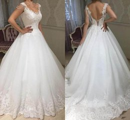 Wholesale 2019 A Line Scoop Princess Wedding Dresses Sexy Back Lace up Appliques Elegant Bridal Dresses custom made Charming Design Wedding Gowns