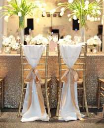 gold white chair NZ - New Coming White With Ribbon Ronamtic Mediterranean Classic Beautiful Custom Made Wedding Supplies Wedding Events Chair Sash