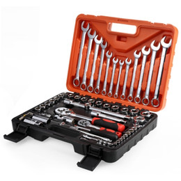 Discount set wrenches - 61pcs Automobile Motorcycle Car Repair Tool Box Precision Ratchet Wrench Set Sleeve Universal Joint Hardware Tool Kit fo