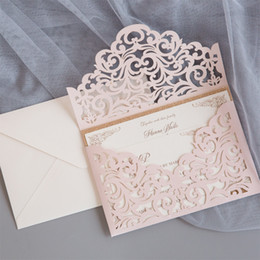 Wholesale Luxury Blush Pink Gold Glitter Wedding Invites Shimmer Laser Cut Classic Party Invitations with Envelope Shipped by DHL
