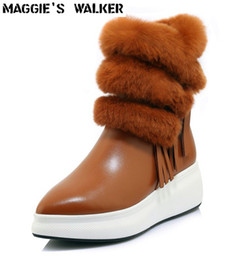 35 Hair UK - Maggie's Walker Women Rabbit Hair Genuine Leather Pointed-toe Wedge Winter Snow Boots Tassels Rabbit Hair Ankle Boots Size 35~39