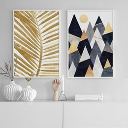 Canvas Prints For Living Room Australia - Nordic Minimalist Geometric Canvas Posters Prints Palm Leaf Letters Painting Wall Art Picture for Living Room Cuadros Decoracion