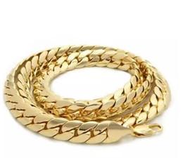 "$enCountryForm.capitalKeyWord NZ - Mens 12mm Miami Cuban link Chain 14k Gold Plated 24"" inch Necklace"