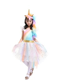 Chinese  Unicorn Rainbow Color Princess Tutu Dress Suits with 1 Unicorn Corn Headband+1 Golden Wings Cosplay Clothing Girls Stage Performance Dresses manufacturers