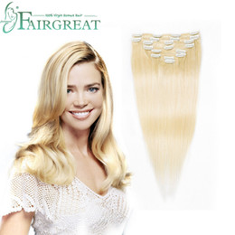 Discount human hair pieces for women - Remy Hair Extensions Clips Blonde 613# Color Full Head Clip in Extension Human Hair 7 Pieces Clip Hair Extensions for Wo
