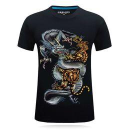 Black Shirt Tiger Men NZ - Men Tshirt Short Sleeve Summer 2018 Tops Casual 3D Animal Print Male T Shirt O Neck Tees Plus Size Brand Tiger Dragon Black Blue
