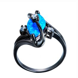 Black Opal Engagement Rings Australia   Gorgeous Rainbow Fire Opal Rings  For Women Men Black Gold