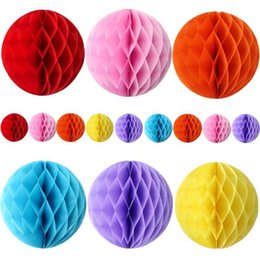 Chinese lantern birthday party online shopping - Round Paper Ball Honeycomb Ball With Tissue Flower Chinese Paper Lantern For Wedding Kid Birthday Party Decorations GGA1183