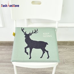 green office chairs Australia - Hot Sale 40x40x4cm Nordic Elk Cotton Linen Seat Mat Thicken Student Memory Foam Deer Chair Pad Decor for Office Car Home