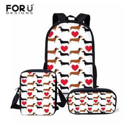 $enCountryForm.capitalKeyWord NZ - FORUDESIGNS 3PCS Set Children School Bag Set Women Backpack Casual Kids Mochilas Book Bag Girl Cute Dachshund Dog Backpack