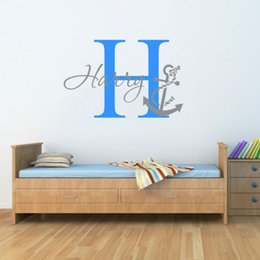 green room decor 2018 - Personalised Name Anchor Nautical Wall Sticker Two Tone Art Boys Childs Nursery Room Vinyl Home Decor Wallpaper Mural N-