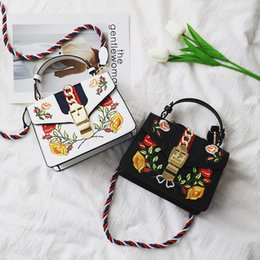 NatioNal flower day online shopping - Pink sugao new style chain fashion pu leather embroidered flower lock square shoulder bag crossbody bag