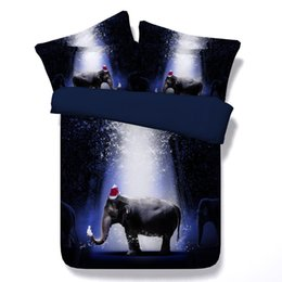 Animal Print Queen Quilt Covers UK - 3D elephant bedding sets duvet cover blue bedspreads comforter cover Bed Linen Quilt Covers animal bed cover christmas hat for children kids