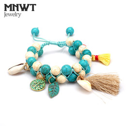 natural stone shell jewelry NZ - MNWT Boho Fashion Colorful Natural Stone Beads Weaving Bracelets Tassel Pendant Shell Jewelry Strand Bracelet For Girls Jewelry