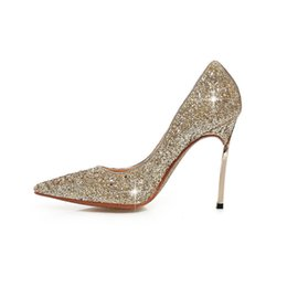 Arden Furtado 2018 spring autumn slip on fashion pumps stilettos gold red  silver royalblue wedding shoes woman ladies pumps bling bling c5efe9f82f4d