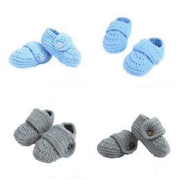 infants crocheted booties 2018 - Solid Color Knit Toddler Shoes Warm Winter Shoes Shallow Mouth Buckle Handmade Booties Knit Sock Infant Shoes cheap infa