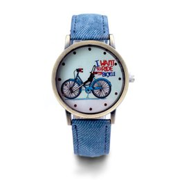 alloy battery UK - New Fashion Casual Quartz Watches Bicycle Pattern Cartoon Watch Women Vintage Multi-Color PU Leather Wristwatches gifts