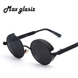 round steampunk sunglasses goggles Australia - Maxglasiz Brand new 2016 Mirror Lens Round Glasses Goggles Steampunk Sunglasses Vintage Retro For men and women Hisper Eyewear