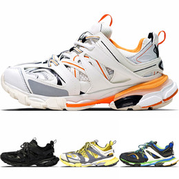 Women s flat leather shoes online shopping - New Fashion Triple S Track Trainers Men Sports Running Shoes Designer Clunky Sneaker Black Orange Women Walking Luxury Paris Dirty Dad Shoes